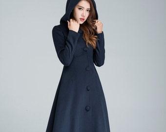 womens outfits winter coat warm winter coat navy blue coat maxi coat winter coat women  1637# long wool coat Wool coat hooded coat