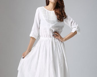 white linen dress, linen dress, maxi dress, white party dress, pleated dress, handmade dress, three quarter sleeves, womens dress (803)