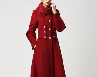 Red wool coat, Long coat, military Coat, maxi coat, Women coat, winter coat, designer coat, warm coat, wool coat women, wool clothing 1118