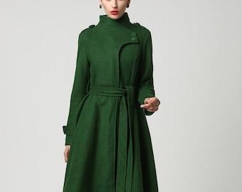Long Wool coat, Wool coat women, Green wool coat, Asymmetrical coat, Gothic coat, Winter coat women, Belted wool coat, Made to order 1112#