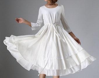 White dress, little white dress, tea length dress, midi dress, white midi dress, womens dresses, drawstring dress, loose linen dress (960)