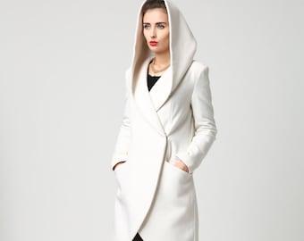 Wrap coat, wool coat, white coat, hooded coat, winter coat, short coat, womens coats, casual coat, mod clothing, custom made  1119#