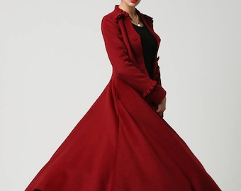 long winter coat, red coat, maxi coat, wool coat, Dress coat, swing coat, princess coat, womens coats, ladies coats, Mod clothing, Gift 1104