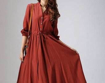 Vintage 1950s Dress, rust red dress, linen dress, casual dress, madi dress, shirt dress, long sleeve dress, custom made dress, gift 804