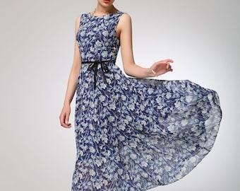 Flower dress, chiffon dress, sleeveless dress, maxi dress, prom dress, summer dress, swing dress, womens dresses, gift for women (1251)