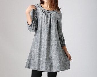 Linen tunic, Tunic dress, Linen dress, tunic top, women tunic, Plus size dress, Loose Linen dress, linen clothing, House dress 0783#