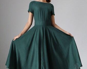 Linen dress, maxi dress, A line dress, 50s dress,  green dress, midi dress, summer dress, evening dress,  short sleeve dress  971