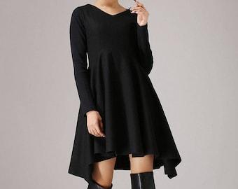 Little black dress, Wool dress, womens dresses, Fall dresses for women, Black dress, Long sleeves dress, asymmetric dress, Work dress 0767#