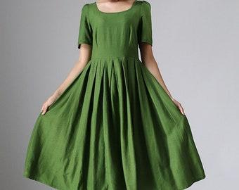 Linen dress, womens dresses, midi dress, green dress, A line dress, 50s dress, short sleeve dress, pleated dress, fit and flare dress 973