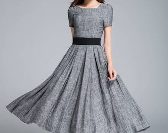 grey linen dress, pleated dress, fit and flare dress, ladies dress, party dress, square neck dress, classic dress, summer dress 1762