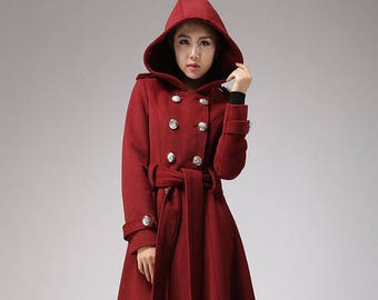 Winter coat, trench coat, red coat, military coat, long coat, double breasted coat, hooded coat, wool coat, ladies clothing, gift 705
