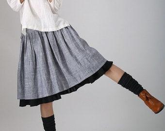 Gathered Midi skirt, Linen skirt, Skater skirt, gray skirt, women skirt, knee length skirt, pleated skirt, layered skirt, custom skirt 0777#