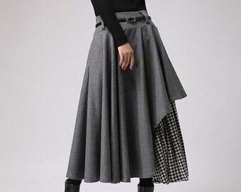 Asymmetrical wool skirt, Winter wool skirt for women, layered midi skirt, wool skirt, Gray skirt, women skirt, houndstooth skirt 0720#