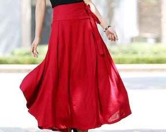 Wrap skirt, linen skirt, wrap linen skirt, linen skirt long, linen skirt pockets, red linen skirt, maxi wrap skirt, linen wear (1025)