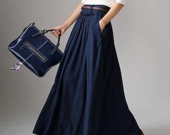 Casual Long Linen Maxi skirt for women, Navy skirt, High waist Long A Line pleated Swing skirt with pocket, women skirt, full skirt 1046#