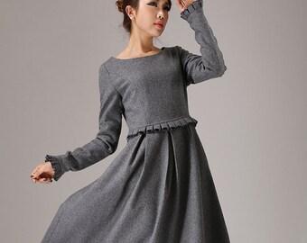 Gray dress, maxi dress, long sleeves dress, wool dress, plus size dress, womens dresses, made to order, ruffle dress, winter dress764