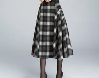 564f5799a Vintage plaid skirt, Wool skirt, pleated skirt, winter skirt, 50s skirt,  midi skirt, warm winter skirt, tartan skirt, women skirts 1626