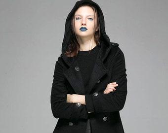 Military coat, hooded coat, wool coat, black coat, fitted coat, winter coat, short coat, womens coat, double breasted coat 1364