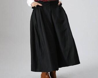 d33588ac48d1de lange schwarze Leinenbekleidung, Frauen Rock, Plissee-Rock, Rock, high  waisted Rock, Rock mit Taschen, Leinen Rock Frauen, Geschenk-Ideen 0822