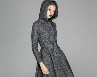 maxi coat, gray coat, dress coat, womens coats, wool coat, winter coat, hooded coat, long coat, custom made clothing, mod clothing 1374