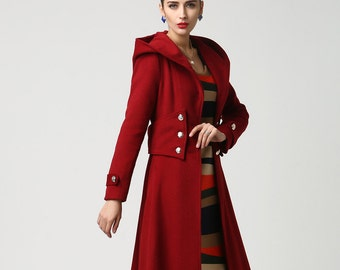 Wool coat with hood, wool coat, red coat, winter Coat, Military coat, long coat, warm winter coat, wool coat women, military coat (1107)