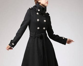 long black coat , Trench coat, military coat, long coat, black coat, winter coat , wool coat , double breasted coat, plus size coat  709