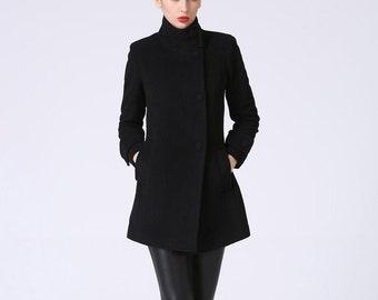 Wool jacket, Black coat, short jacket, wool coat, Black blazer, womens jackets, short jacket, black jacket, mod clothing, winter coat  1070#