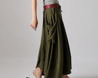 dcd4485890 Army green skirt, linen skirt, skirt with pockets, maxi skirt, summer skirt,  lagenlook clothing, womens skirts, fitted skirt 0885