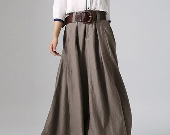 911c163fe Long linen skirt, maxi skirt for women, brown skirt, pleated skirt, casual  skirt, skirt long, skirt linen, custom skirt, plus skirt 0905