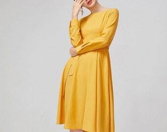 750a9f5cb3 yellow dress, cotton dress,fitted dress, women dress high waisted dress,  bracelet sleeves dress,long dress, holiday dress,party dress 2218