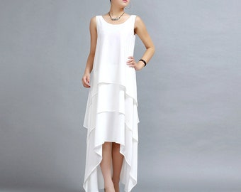 White maxi dress, long flowy dress, prom dress, long prom dress with tiered drape, sleeveless dress, plus size available, party dress  (261)