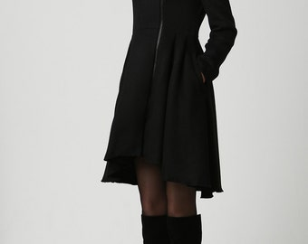 3a08c73a77024 Wool coat women black coat long coat warm jacket layered