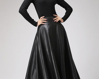 d627b6d036dc6f Black faux leather skirt - Classic style maxi skirt - women PU vegan flared  skirt - circle skirt - designer woman's skirt - plus size (719)