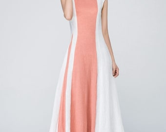 Wedding Guest Dress, Linen Dress, Maxi Dress, Modern Dress, Block Color  Dress, Womens Dresses, Fitted Dress, Elegant Dress , Gift Ideas 1560