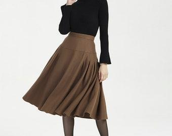 71c9666b41dd77 Women skirt, vintage skirt, wool skirt, brown skirt, midi skirt, pleated  skirt, fitted skirt, high waist skirt, handmade casual skirt 2005