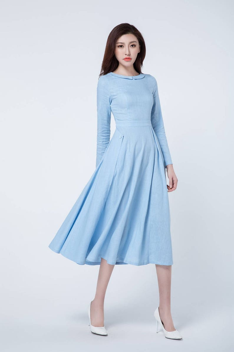 Light blue dress, midi dress, pleated dress, spring dress, long sleeves  dress, linen clothing, linen dress woman, party dress 1727
