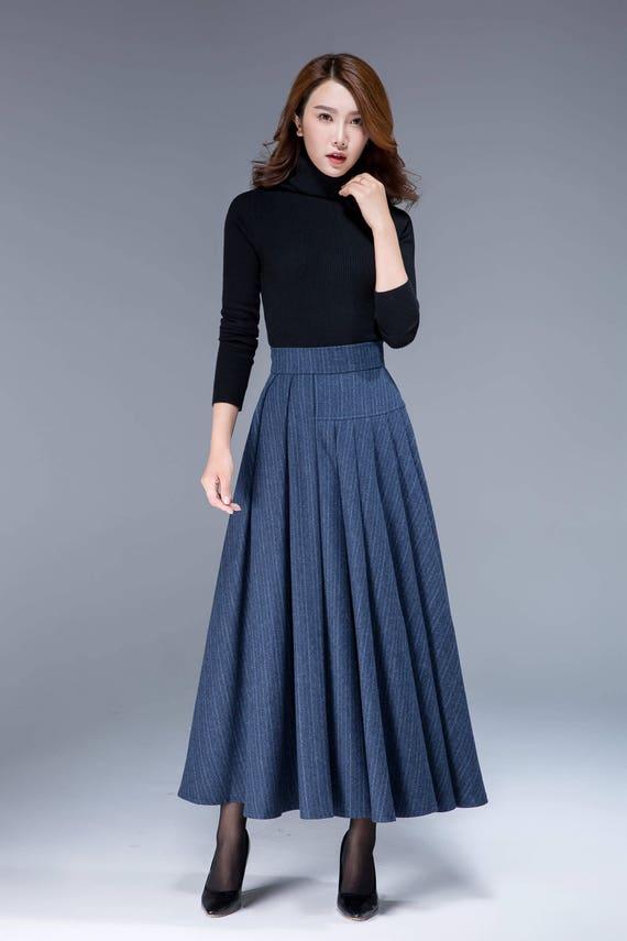 skirt pleated skirt skirt womens plus designers clothing maxi skirt skirt size 1801 wool asymmetrical warm blue skirt stripe skirt tpYxwx