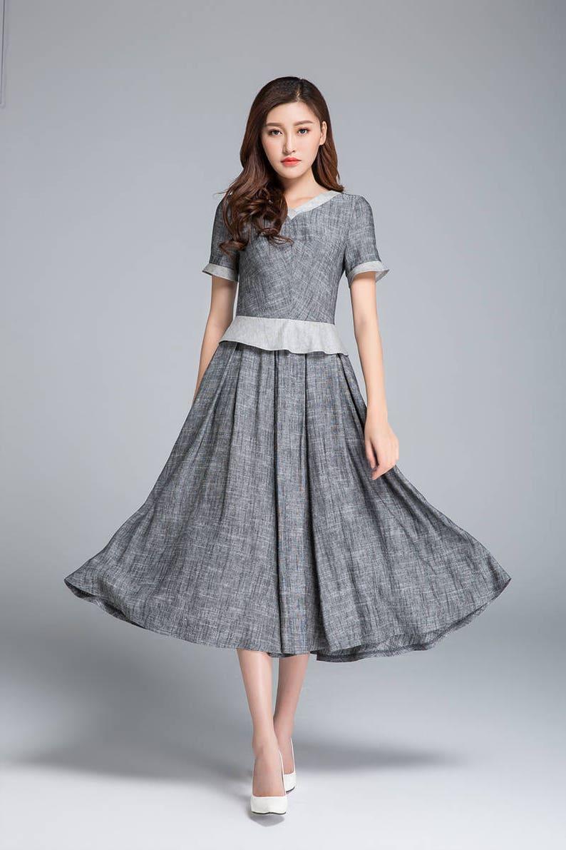 Grey dress women linen dress summer dress retro dress | Etsy