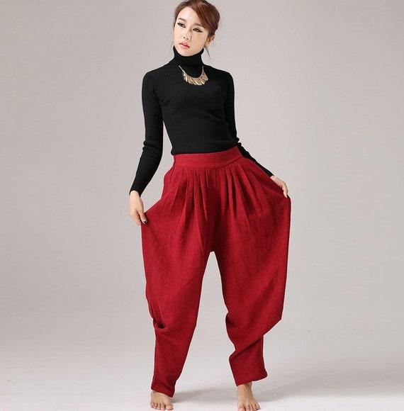 brand new e0c00 c49aa pantaloni harem, pantaloni larghi di lino, pantaloni di lino, pantaloni di  lino donna, pantaloni lunghi, pantaloni hippie, pantaloni casual, pantaloni  ...