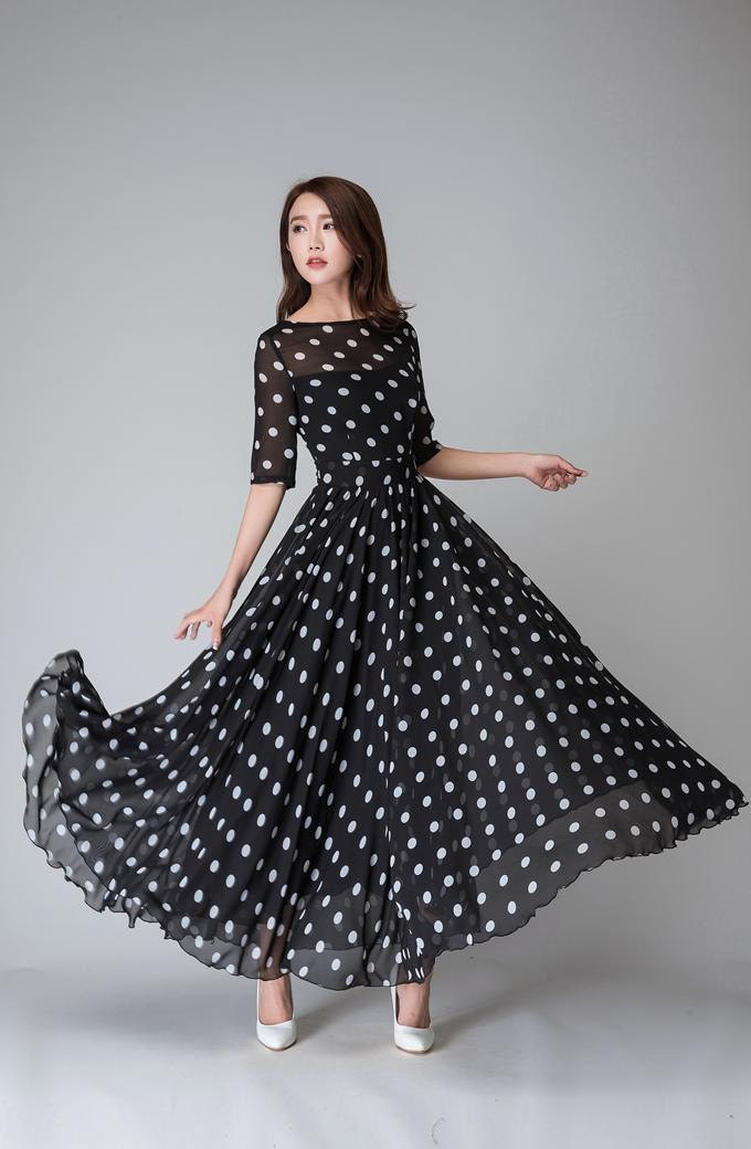 Polka Dot Dress Summer Dress Black And White Polka Dot Maxi Etsy