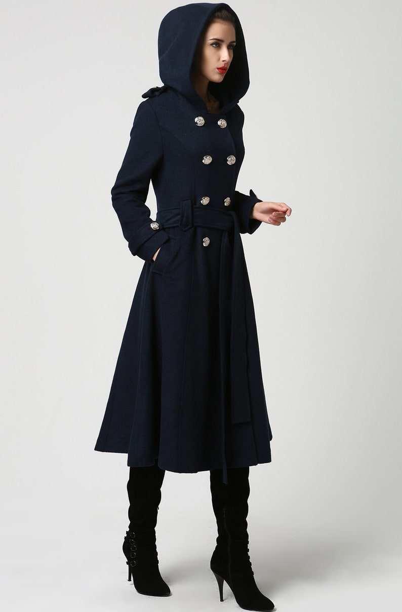 Wool coat women Long wool coat Winter Coat Overcoat Blue image 0