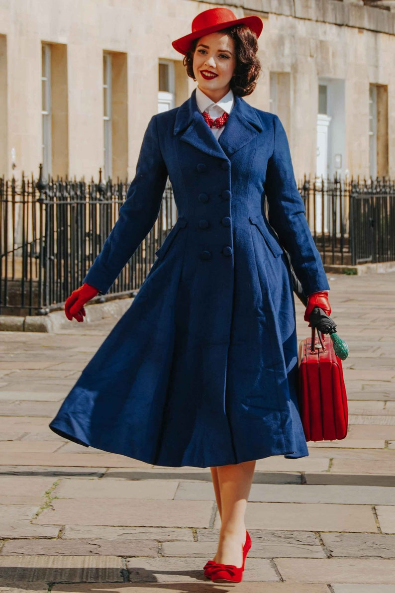 1940s Style Coats and Jackets for Sale Vintage inspired Mary Poppins coat Blue wool coat Long wool coat Winter coat women Wool coat women Double breasted wool coat 1685# $152.15 AT vintagedancer.com
