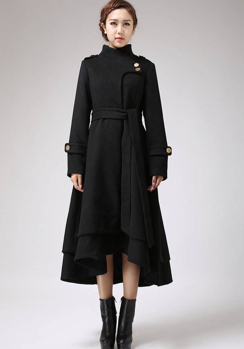 55afc6e80 Wool coat women, black coat, long coat, warm jacket, layered coat,  asymmetrical coat, tie belt coat, womens clothing, plus size coat 0703#