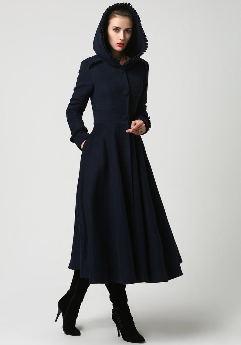 1a89e808e146b Long wool coat Womens coats Navy Blue coat plus size Coat