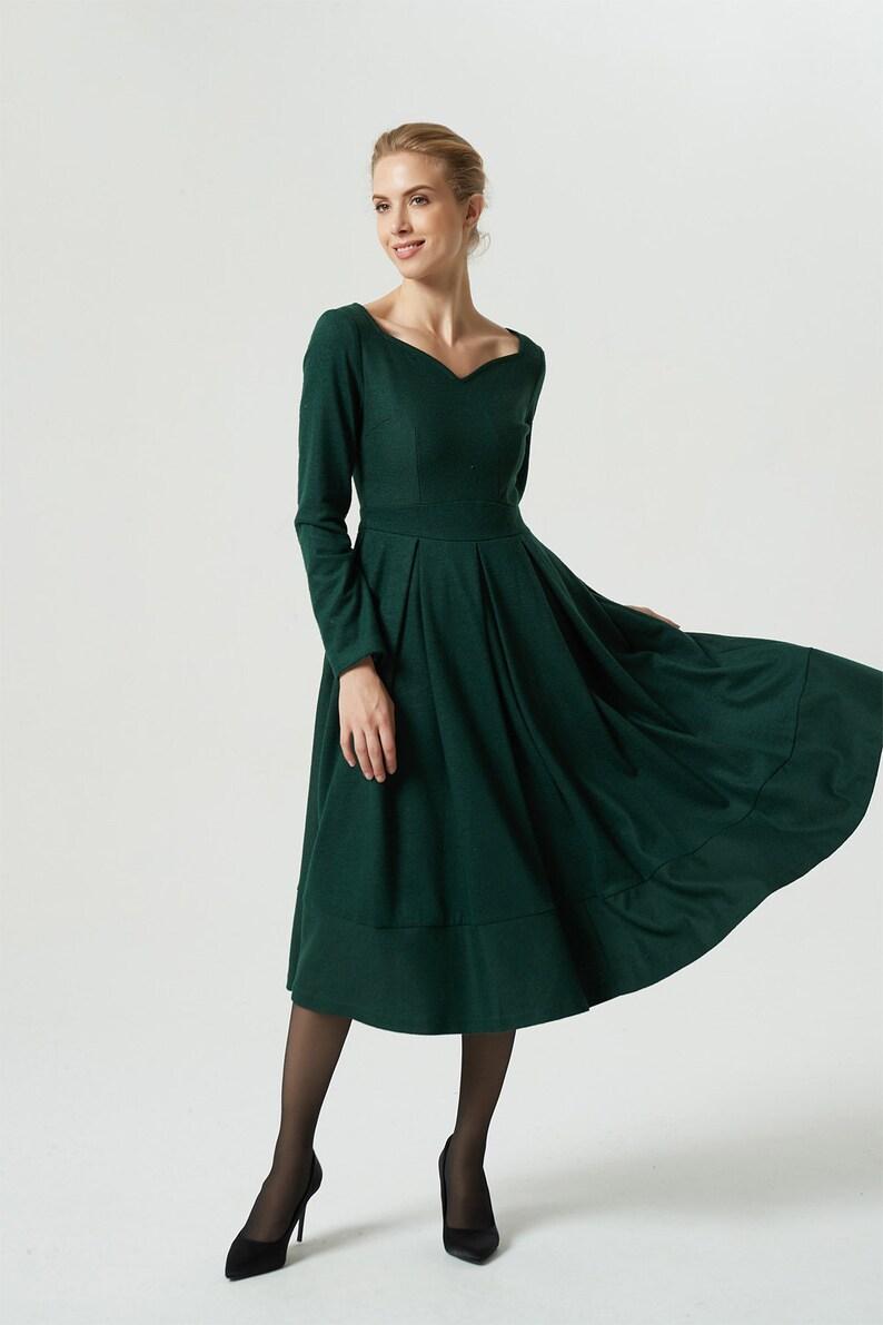 d11f78e1df6 Vert robe robe en laine robe mi-longue robe plissée robe