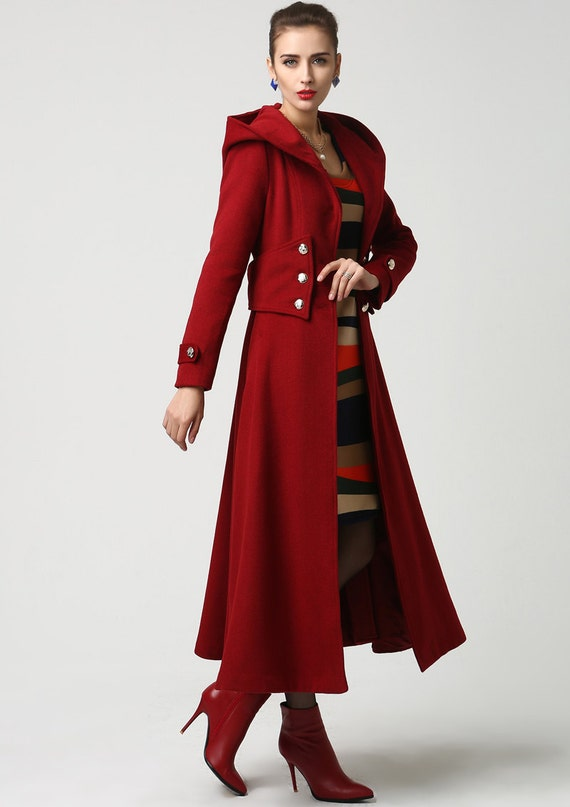 Wool Coat With Hood Red Winter