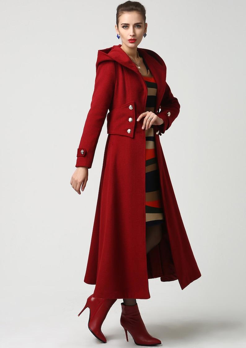 manteau rouge femme style officier maje
