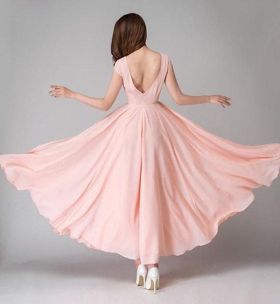 Pink chiffon dress, bridesmaid dress, maxi dresses for women, Cap sleeve wedding dress, Chiffon dress long , Summer dress, prom dress 1526#