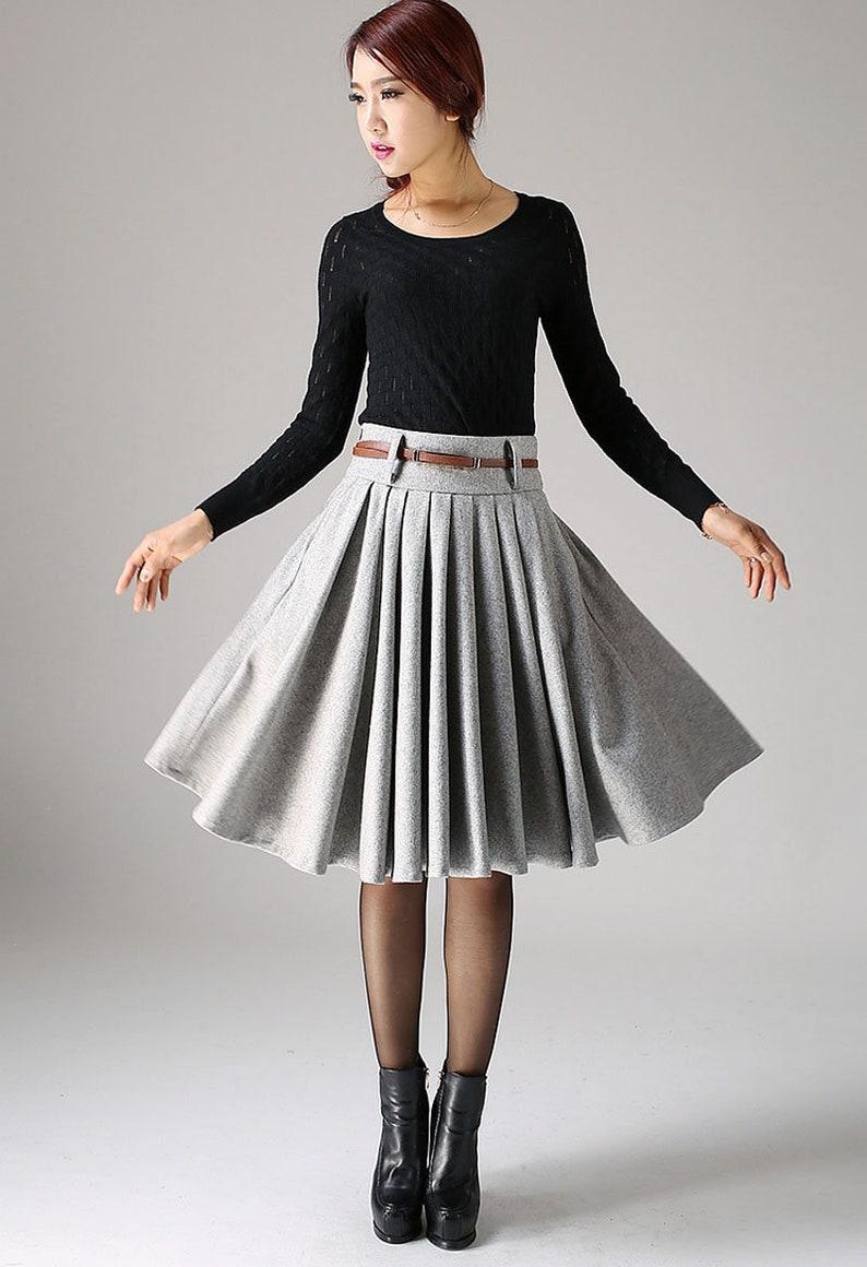 f9097fbcda Grey skirt wool skirt knee length skirt winter skirt skirt | Etsy