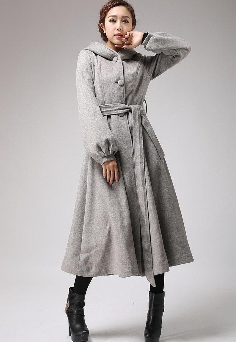 Gray wool coat long trench coat womens coats dress coat image 0